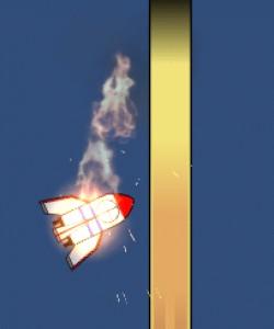 燃えるロケットのイラスト