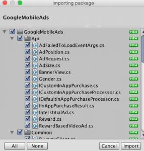 AdMob GoogleSDKのパッケージ