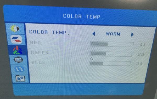 HUION Kamvas GT-191のColor TEMP画面