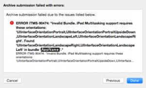 "Xcodeを最新版にしたらビルド出来ない [ERROR ITMS-90474 ""Invalid Bundle. iPad Multitasking support requires these orientations]"