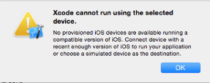 Xcode cannot run using the selected device.の対処法