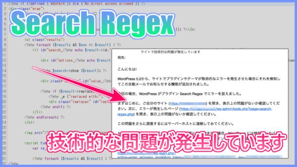 【Search Regex】技術的な問題が発生していますの対処法!コピペOK