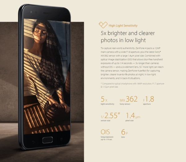 ASUS ZenFone 4 カメラ性能
