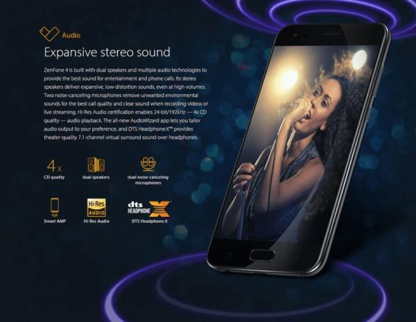 ASUS ZenFone 4 デュアルスピーカー