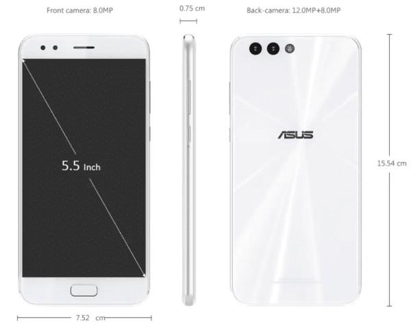 ASUS ZenFone 4 サイズ
