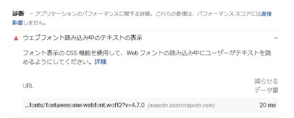 PageSpeedInsights ウェブフォント読み込み中のテキストの表示